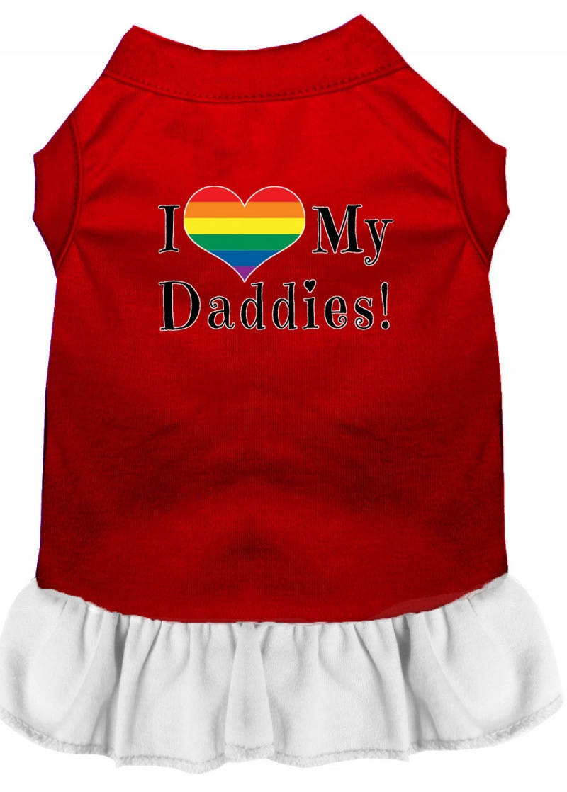 I Heart My Daddies Screen Print Dog Dress Red With White Xs