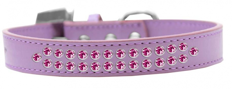 Two Row Bright Pink Crystal Size 16 Lavender Dog Collar