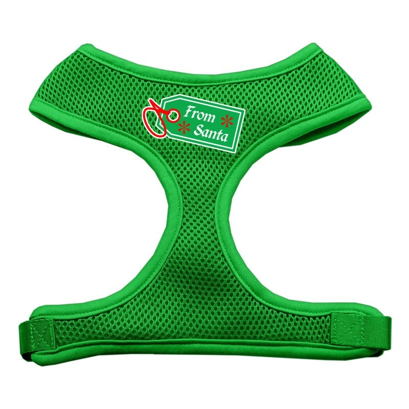 From Santa Tag Screen Print Mesh Pet Harness Emerald Green Small
