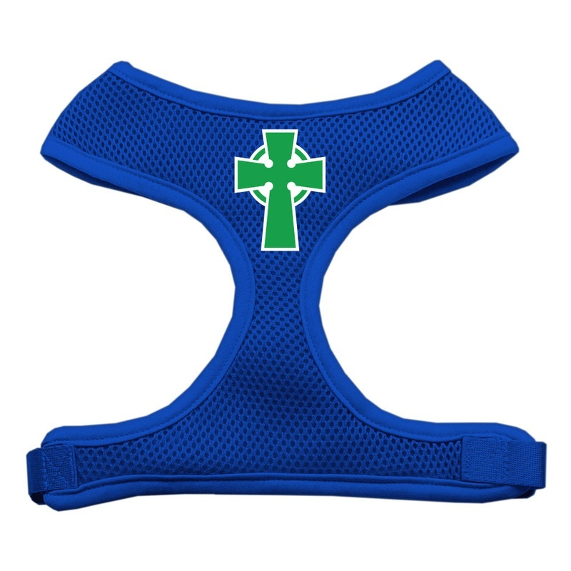 Celtic Cross Screen Print Soft Mesh Pet Harness Blue Extra Large