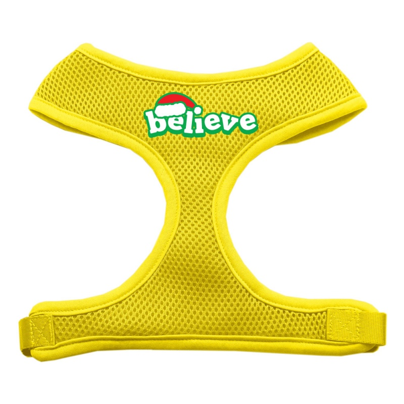 Believe Screen Print Soft Mesh Pet Harness Yellow Extra Large