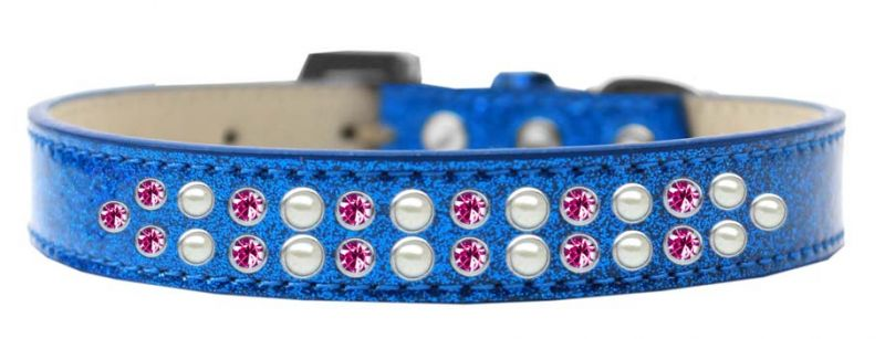 Two Row Pearl And Pink Crystal Size 14 Blue Ice Cream Dog Collar