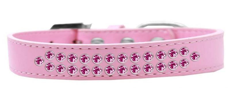 Two Row Bright Pink Crystal Size 16 Light Pink Dog Collar