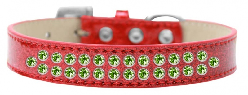 Two Row Lime Green Crystal Size 16 Red Ice Cream Dog Collar
