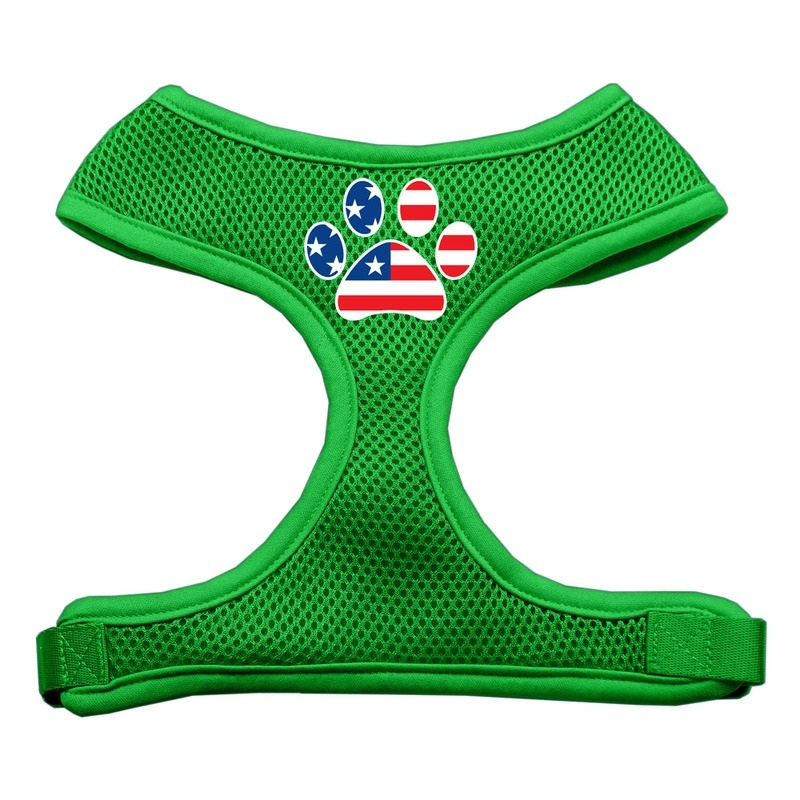 Paw Flag Usa Screen Print Soft Mesh Pet Harness Emerald Green Extra Large
