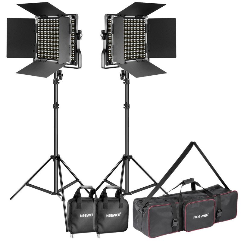 Neewer 2-pack Dimmable Bi-color 660 Led Video Light And Stand Lighting Kit With Large Carrying Bag