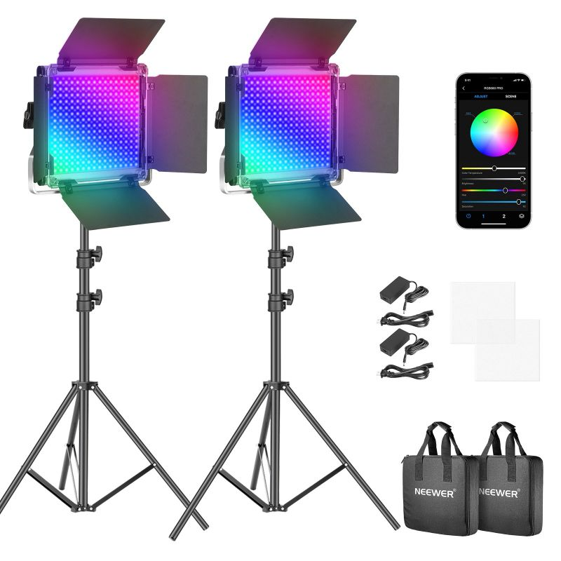 Neewer 2 Packs Of 50w Rgb 660 Pro Led Video Light Kit With App Control