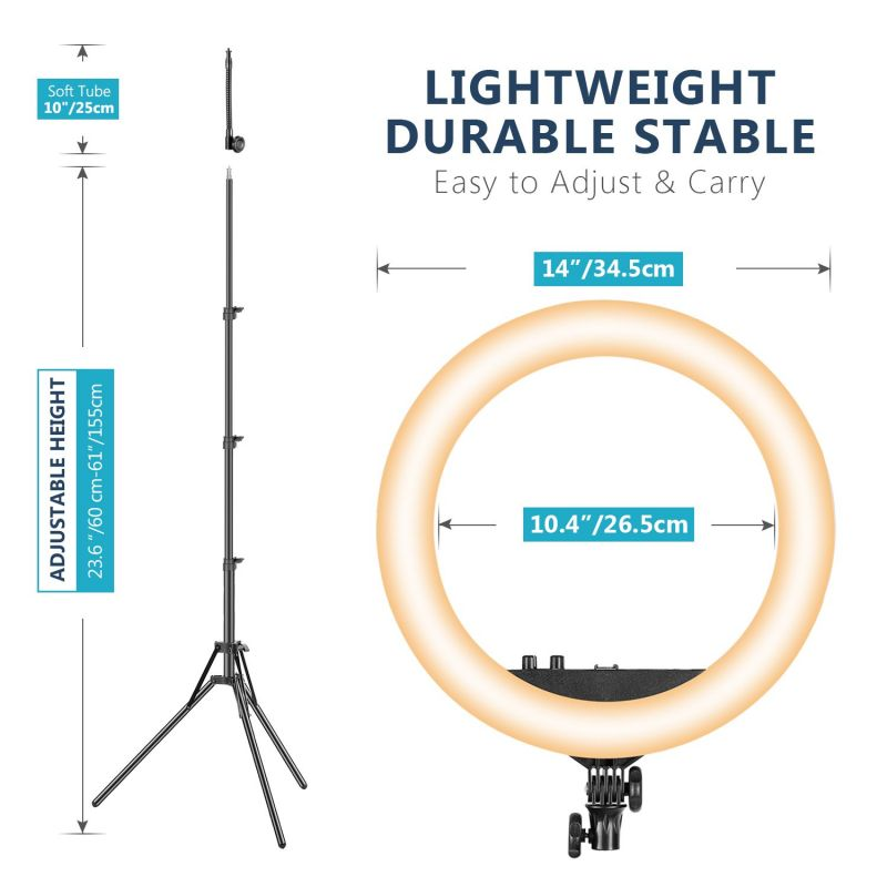 Neewer 14/18-Inch Led Ring Light With Stand And 2.4G Wireless Remote, With Soft Tube