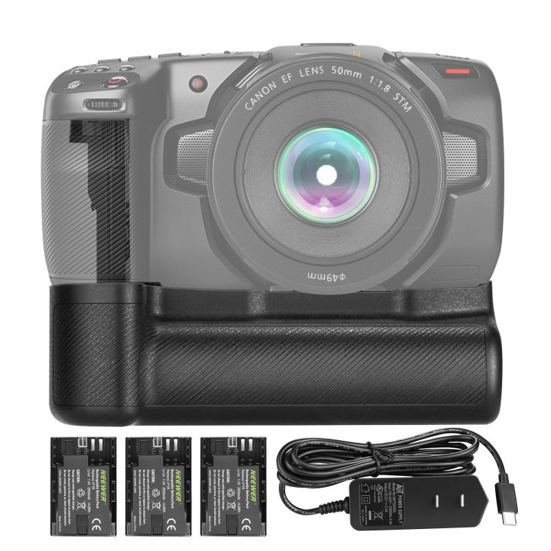 Neewer Hm Battery Grip Compatible With Blackmagic Pocket Cinema Camera 6K 4K With Type-C Usb Adapter