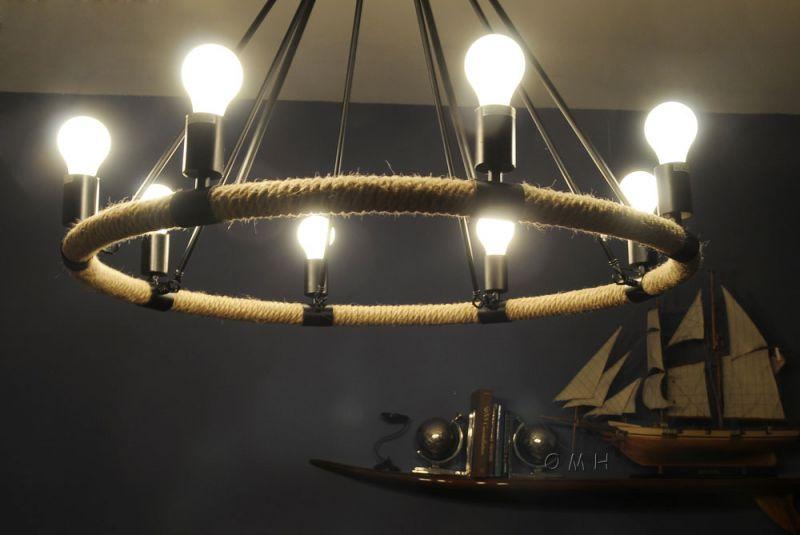 Rope Pendant Lamp - 8 Bulbs