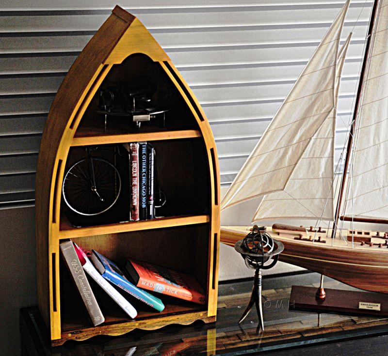 Wooden Canoe Book Shelf Small