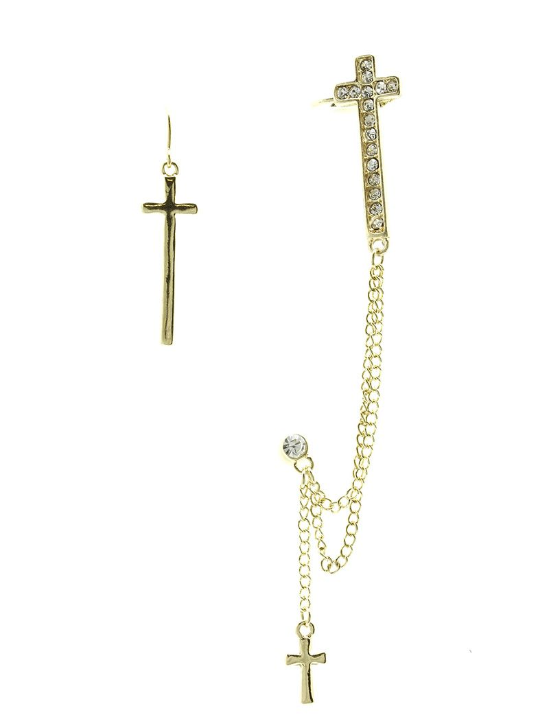 Metal Cross Chain Drop Cuff Crystal Stone