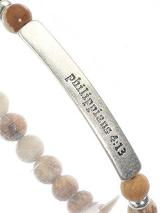 Natural Stone Finish Bead Message Stretch Philippians 4:13