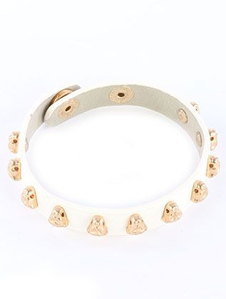 Leopard Head Metal Stud Faux Leather Band Snap Button Closure