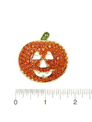 Pave Crystal Stone Metal Pumpkin Halloween Cutout