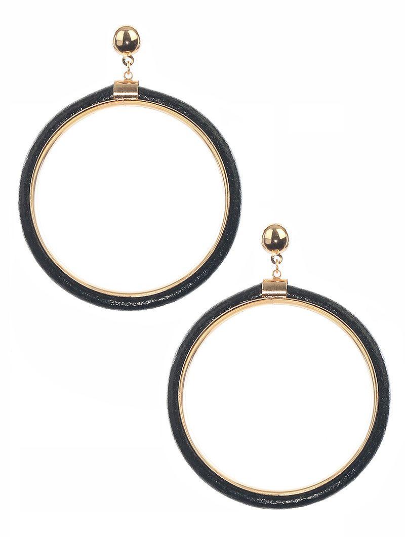 Faux Rubber Metal Ring Dangle Post Pin