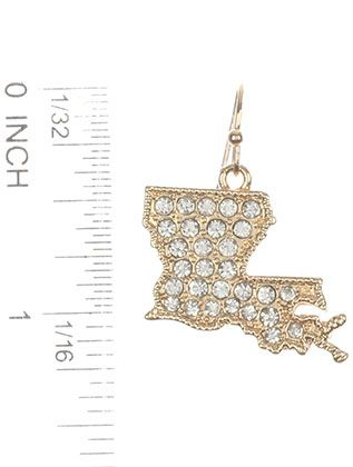 Pave Crystal Stone State Of Louisiana Metal Setting