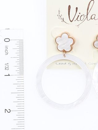 Clover Post Metal Flower Round Shell Post Pin