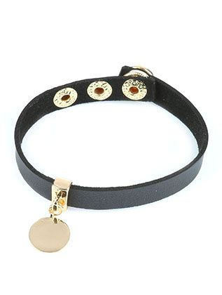 Metal Coin Charm Faux Leather Band Snap Button Closure