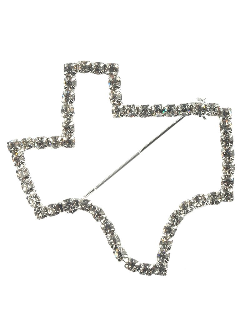 Pave Crystal Stone State Of Texas Metal