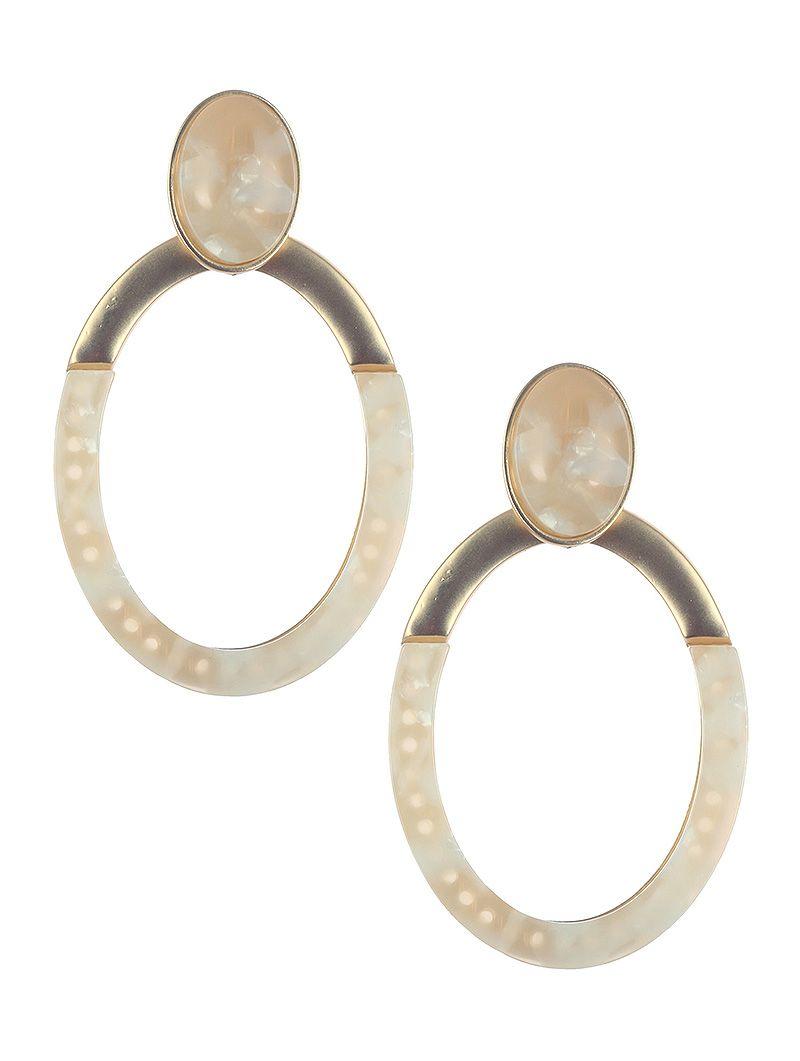 Natural Stone Finish Oval Ring Dangle Matte Finish Metal