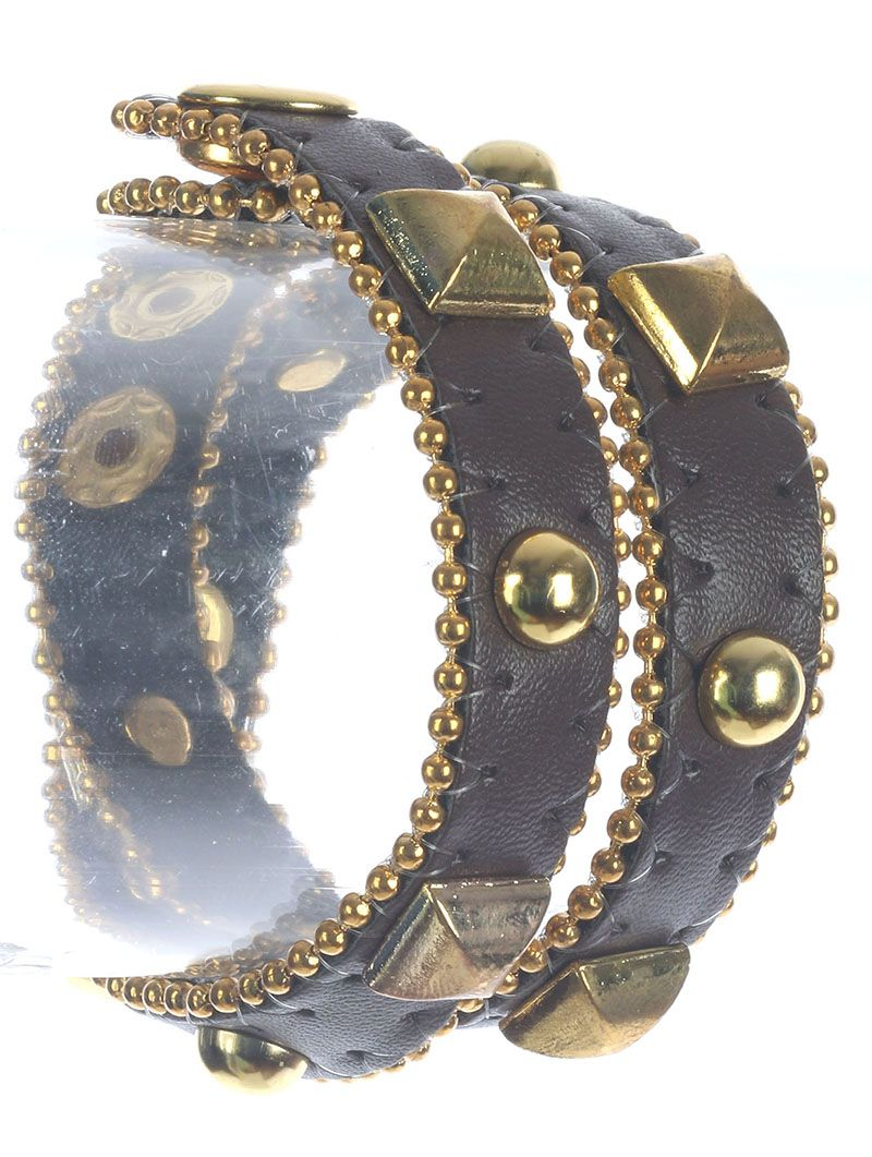 Metal Stud And Spike Faux Leather Wraparound Bead Chain