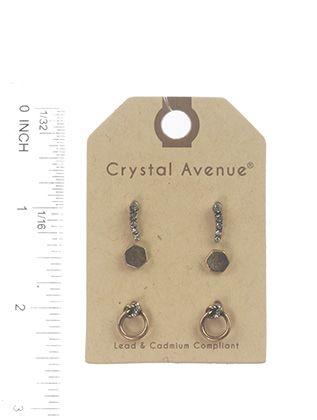Post Pin 3 Pairs Crystal Stone