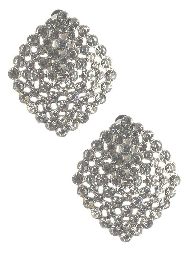 Crystal Stone Cluster Clip On Sunburst Metal Frame