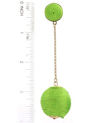 Color Cord Wrapped Chunky Ball Chain Drop Post Pin