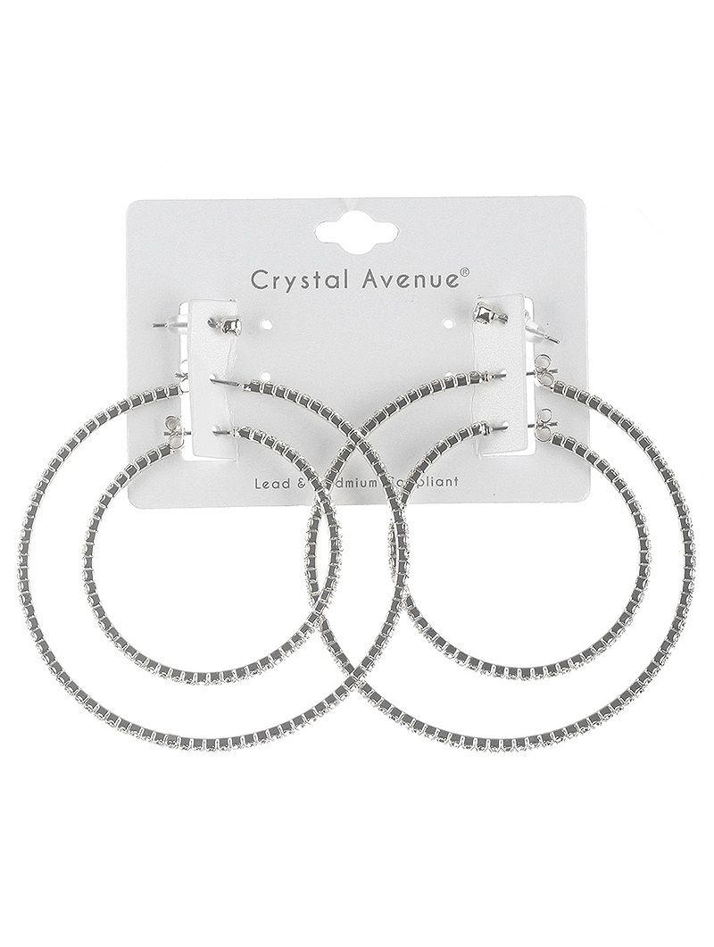 3 Pair Rhinestone Coil Wire Hoop Post Pin