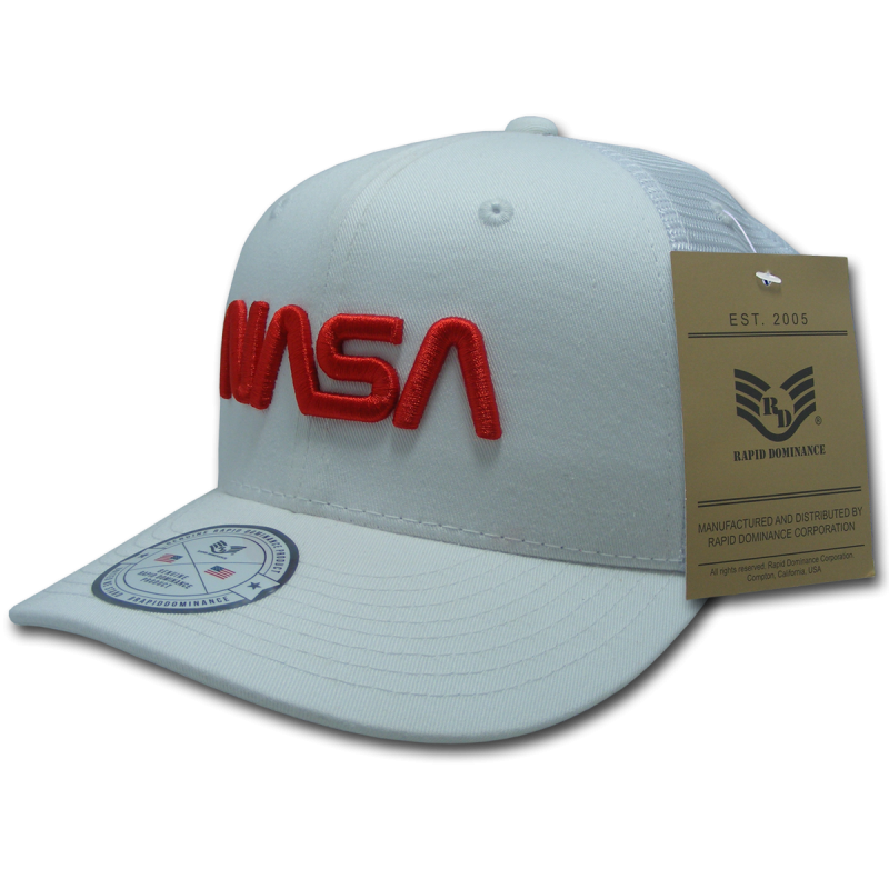 Nasa Cotton Trucker Cap, Worm, White