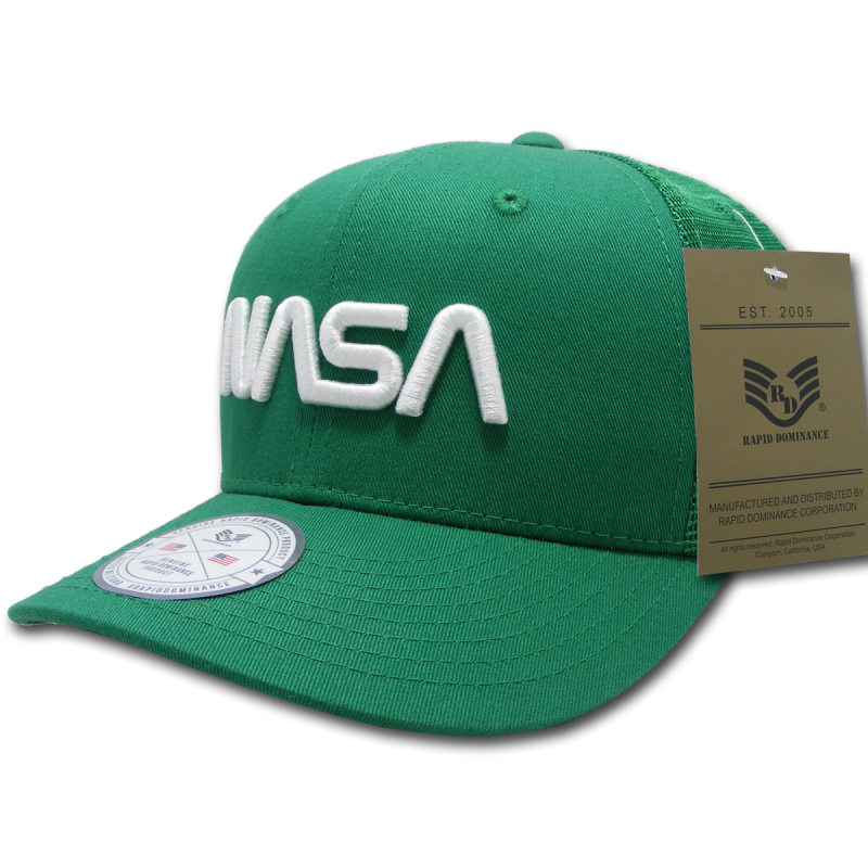 Nasa Cotton Trucker Cap, Worm, Kelly