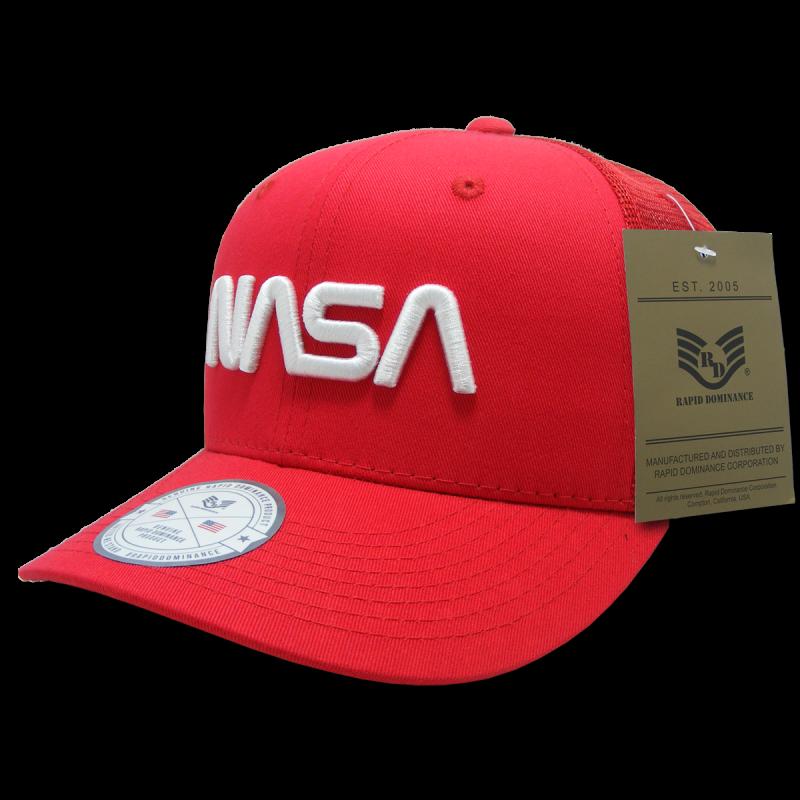 Nasa Cotton Trucker Cap, Worm, Red
