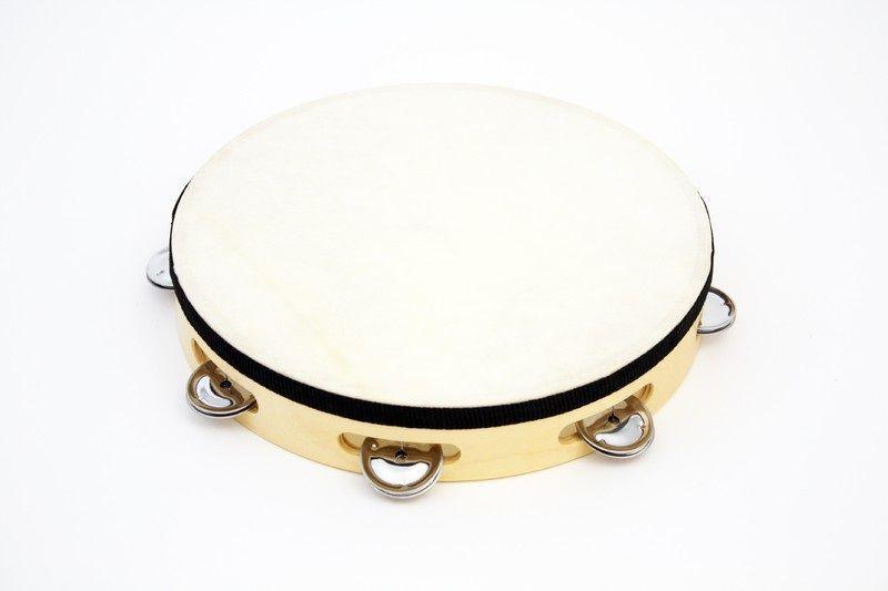 "10"" Tambourine Rbi Wood Tambourine With - 7 (pr) Jingles."
