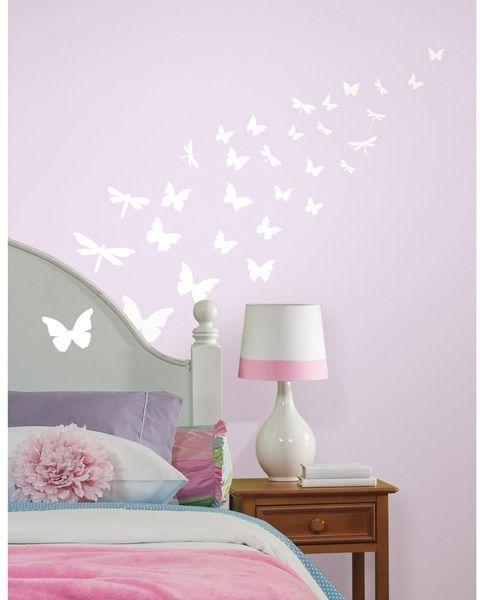 Butterflies & Dragonflies Glow In The Dark Wall Decal