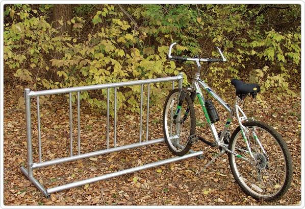 SportsPlay Single Entry Bike Rack: Permanent, 5' - Playground Equipment