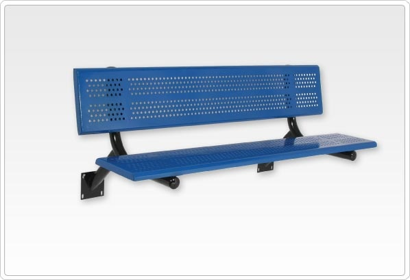 SportsPlay Team Playground Bench with Back: 15' Beveled Perforated