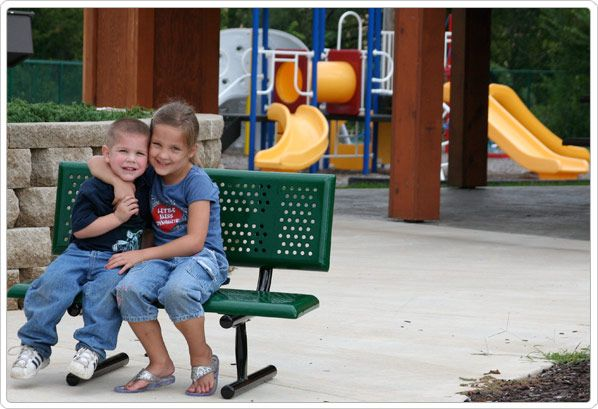 SportsPlay Early Years Playground Bench with Back: Perforated Steel