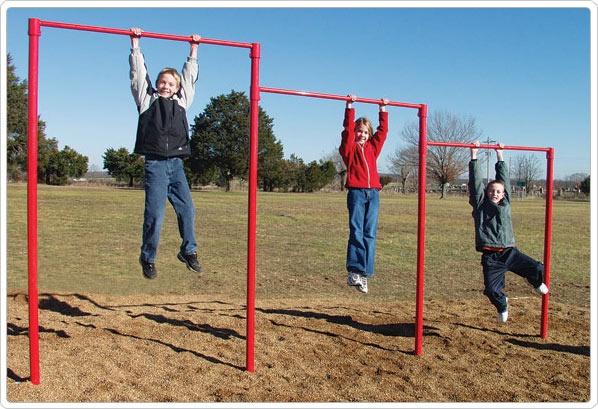 SportsPlay Triple Horizontal Bar: Galvanized - Playground Fitness Equipment
