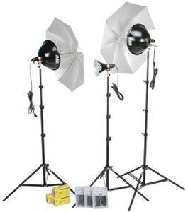 Smith-Victor 401434 3-Light 1250 Total Watt Thrifty Kit with Umbrellas