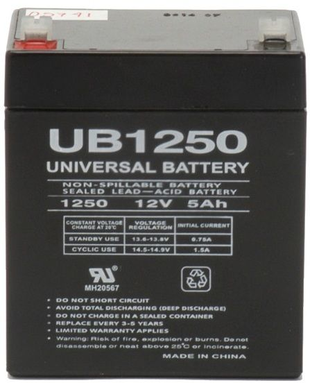 UPG Sealed Lead Acid AGM: UB1250, 5 AH, 12V, F1