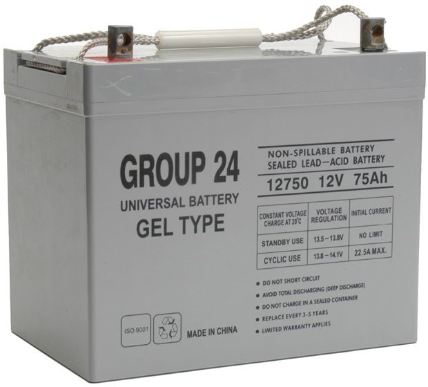 UPG Sealed Lead Acid Gel: UB-24 Gel, 75 AH, 12V