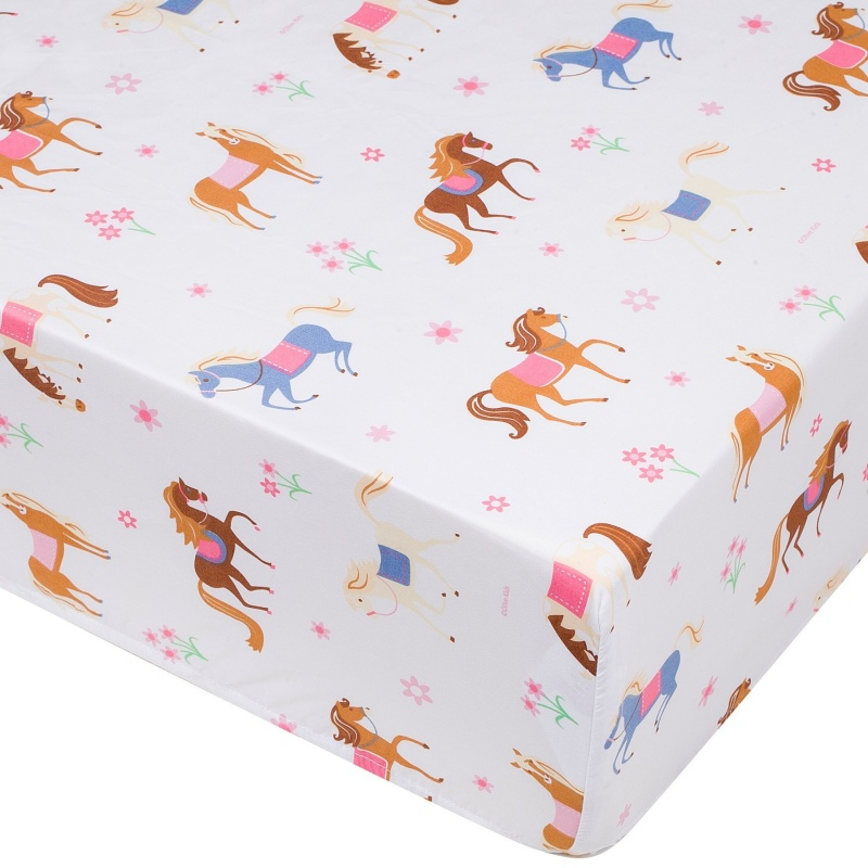Horses Fitted Crib Sheet